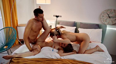 Two cocks, Anal threesome, Share bed