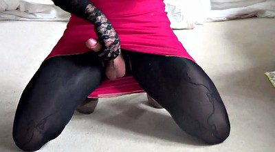 Shemale, Tranny cum, Gay pantyhose, Shemale cum