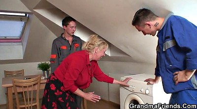 Granny, Young old, Wife double penetration, Wife double, Mature wife