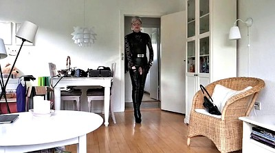 Mature, Boots, Leather, Tranny, Mature tranny