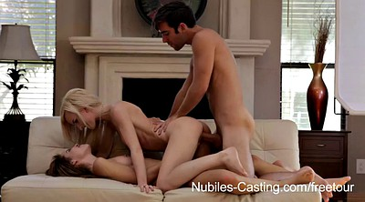 Lesbian granny, Blond, Threesome casting, Become
