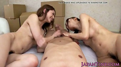 Masturbating together, Japanese threesome