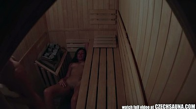 Czech, Spy, Sauna, Spy masturbation