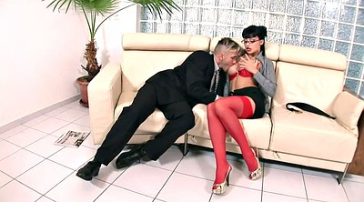 Red, Sofa, Nylon blowjob, Red lingerie