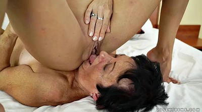 Old and young, Russian young, Small ass, Pussy lick, Old and young lesbian, Granny big tits
