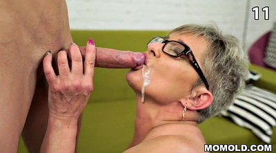 Old and young, Cum compilation, Granny facial