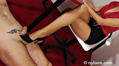 Footjob, Office, Nylon footjob, Nylon feet, Nylon stockings