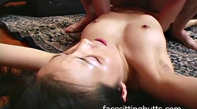 Teen handjob, Sitting face