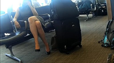 Feet, Hidden cam, Cross, Candid, Sexy legs, Airport