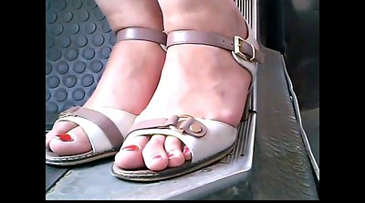 Bus, Mature feet, Mature foot, Mature outdoor