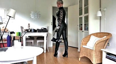 Boots, Leather, Posing, Mature tranny, Mature boots