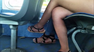 Bus, Leggings, Leg, Candid, On bus, Sexy legs