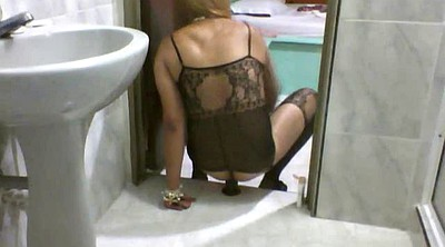 Crossdresser, Crossdress, Ebony dildo solo, Ebony dildo