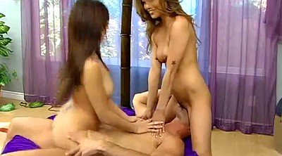Asian threesome, Licking balls, Ball licking