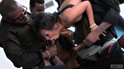 Bukkake, Asian black, Four, Brutal, Akira, Asa akira