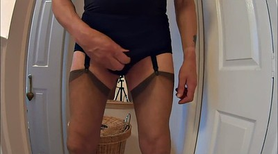 Crossdresser, Mature handjob, Crossdressing, Crossdressers, Panty handjob, Big fake tits