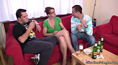 Young woman, Young party, Mature threesome