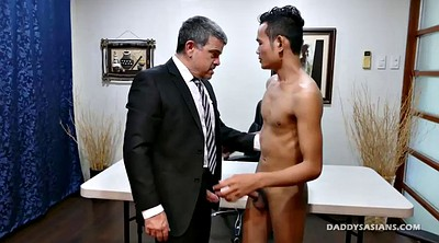 Young boy, Bareback, Asian dad