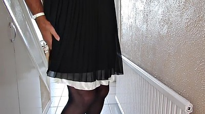 Nylon, Dress, Cock flash, Nylon cock, Black panty, Bes