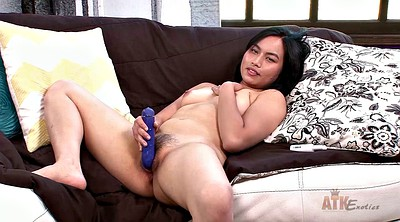 Hairy solo, Asian dildo, Solo hairy pussy