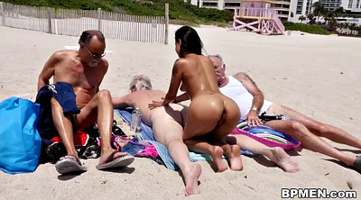 Young latina, Old men, Beach sex