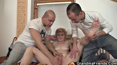 Old men, Delivery, Young old, Granny threesome, Two milfs, Granny young