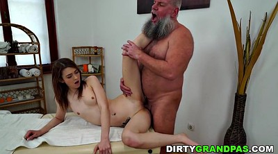 Older, Oil massage, Young small tits, Old massage, Older man, Old man fuck