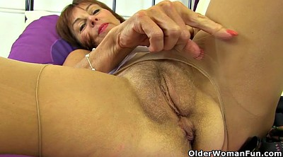 Dildo, Nylons, English, Mature nylon, Georgie, Pushed