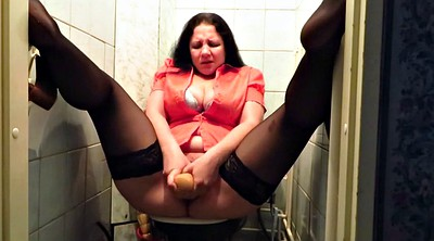 Toilet, Stockings mature, Stockings milf, Mature dildo