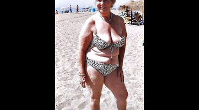 Beach, Mature granny