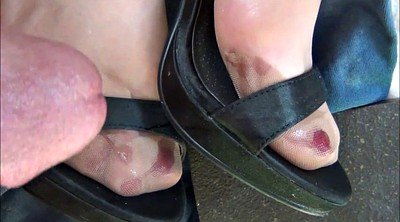 Cum on feet, Shoe, Satin, Nylon foot, Nylon feet, Heel stocking