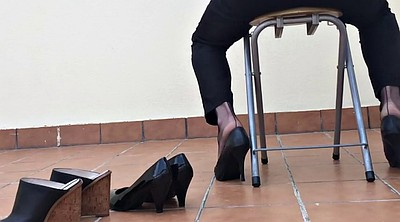 Nylon foot, Heels, Fetish nylon, Dangling, Nylon heels, Black nylon