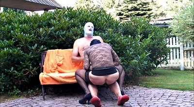 Gay, Big cock, Garden, Nylon fetish