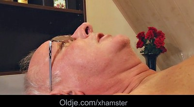 Old granny, Cum in mouth