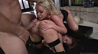 Strapon, Double penetration, Orgasms, Giant cock, Giant, Double blowjob