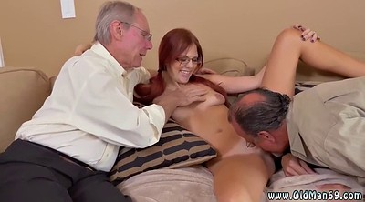 Granny, Old guy, Sisters, Sister fuck