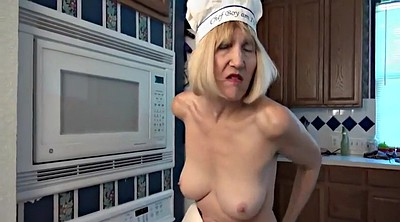Kitchen, Solo granny, Granny masturbating