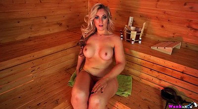 Sauna, Blonde stepmom, Chubby solo, Chubby mom, Chubby bikini, British mom