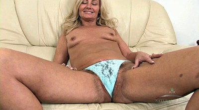 Granny solo, Hairy blonde, Sofa