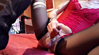 Crossdressers, Crossdresser, Nylon handjob, Masturbate