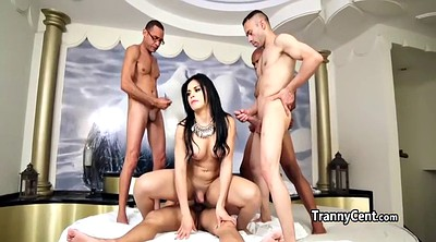 Cute latina, Interracial gangbang, Shemale gangbang, Interracial shemale