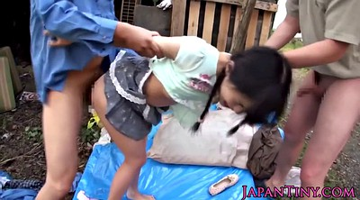 Asian teen, Outdoor gangbang