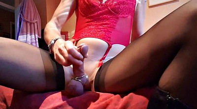 Crossdressing, Crossdress, Nylon handjob