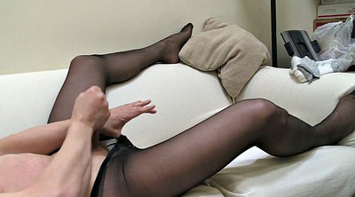 Double, Masturbation pantyhose, Black pantyhose