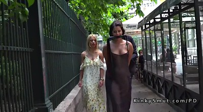 Public bondage, Dressed, Dress, See through, Public bdsm