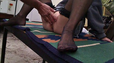 Nylon, Nylon foot, Clit, Big clit, Foreplay, Amateur nylon