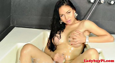 Wank, Busty shemale, Asian ladyboy, Asian beautiful, Solo shower, Shower solo