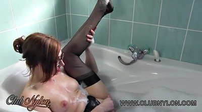 Bath, Nylon fetish, Nylon lesbian, Lesbian nylon, Dildo masturbation