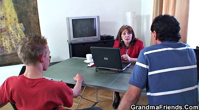 Granny, Granny threesome, Old with young, Office mature