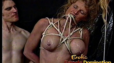 Big tits femdom, Tied, Really, Big tit tied, Hard spank, Hard spanking